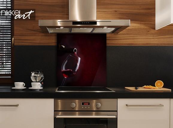 Glass kitchen splash back red wine