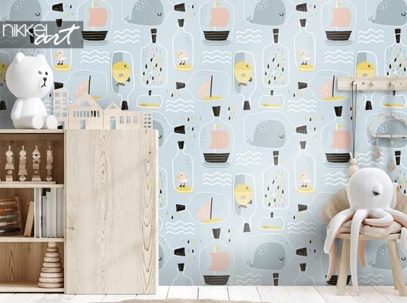 Maritime wallpaper children's room