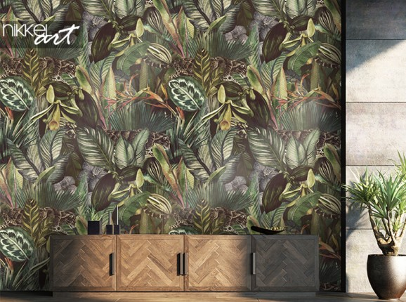 Tropical wallpaper with leopards