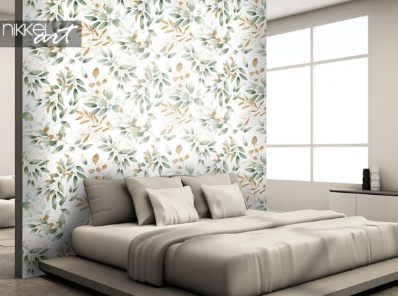 Wallpaper with leaf print