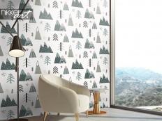 Scandinavian winter landscape wallpaper