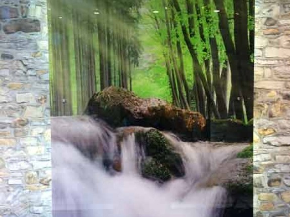Photo on Acrylic Waterfall in spring forest
