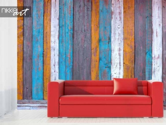 Wall Murals Colorful wooden planks