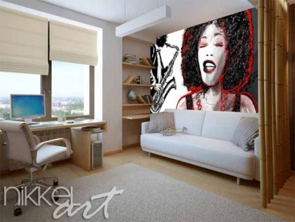 Wall Murals | Music is everywhere | Jazz singer and saxophone