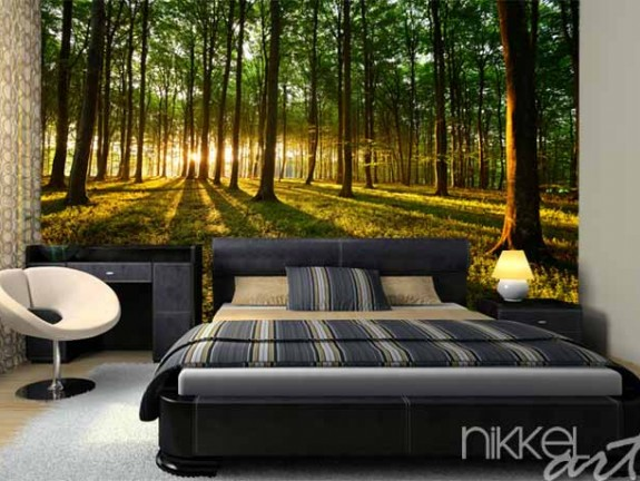 Wall Murals forest rays of light